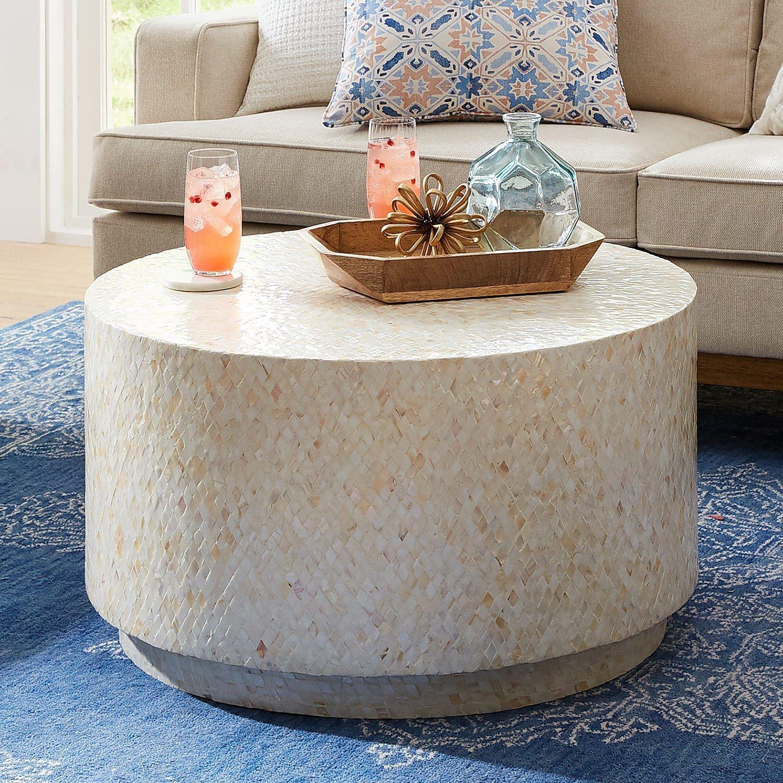Mother Of Pearl Diamond Drum Coffee Table Pier 1 Drum Coffee Table Coffee Table Round Coffee Table Living Room [ jpg ]