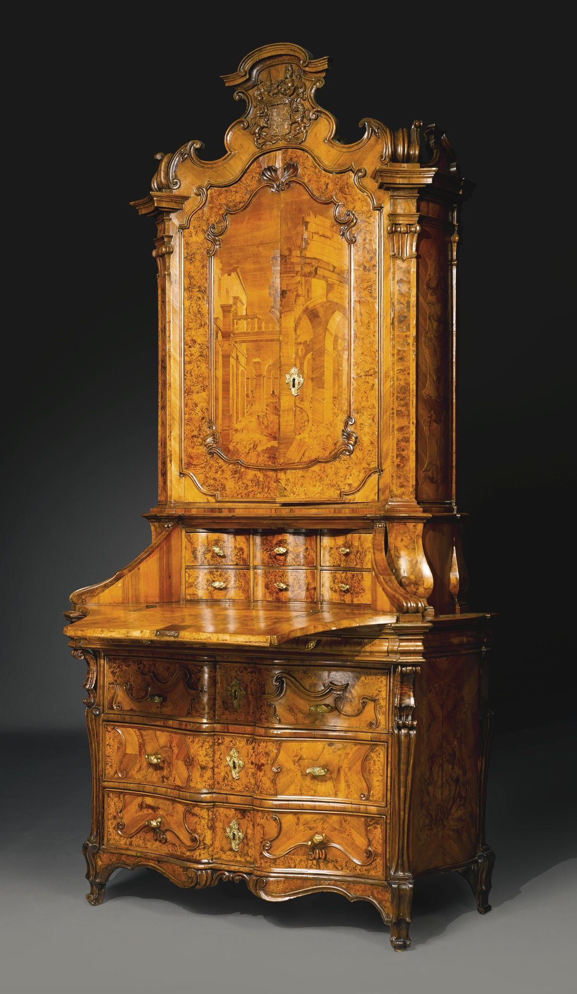 Elegant A North Italian Rococo Walnut, Burr Walnut And Marquetry Bureau Cabinet  Lombardy, Circa 1740 The Cresting With The Coat Of Arms Of The Zurlauben  Family.