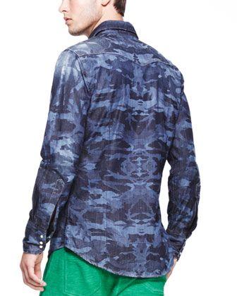 Dsquared2 V-Neck Knit Cardigan, Laser-Print-Camo Denim Shirt & Drawstring Sweatpants - Bergdorf Goodman