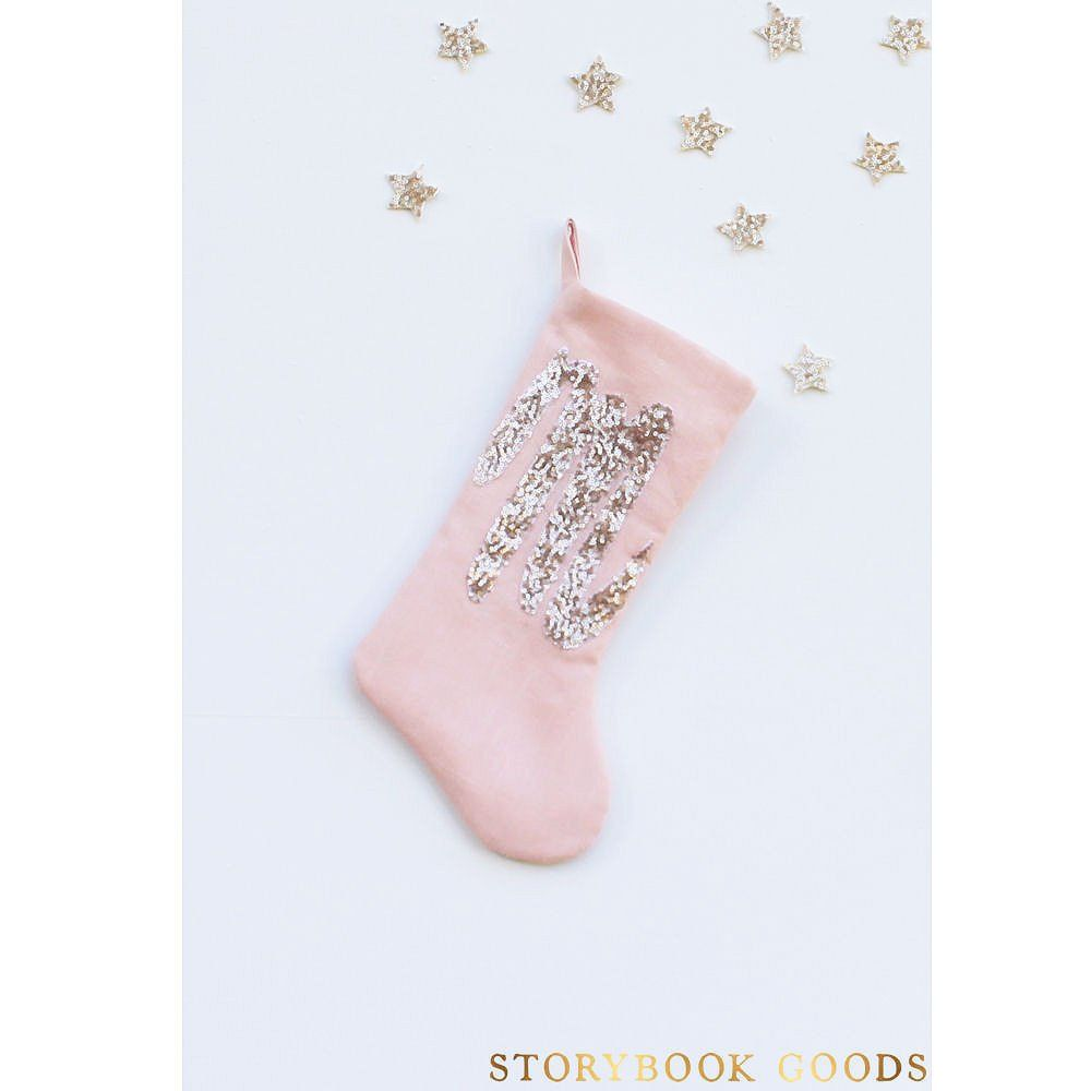 babys first christmas stocking, pink christmas stocking, sequin ...
