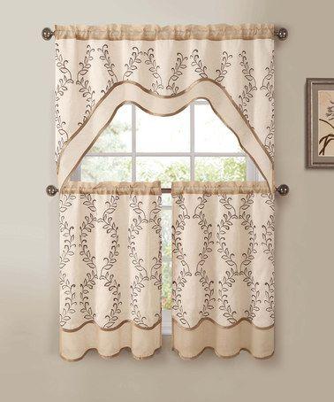 Look at this #zulilyfind! Beige & Gold Everwood Kitchen Curtain Set #zulilyfinds