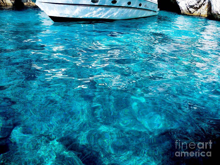 A boat along the coast on the way to Capri, Italy