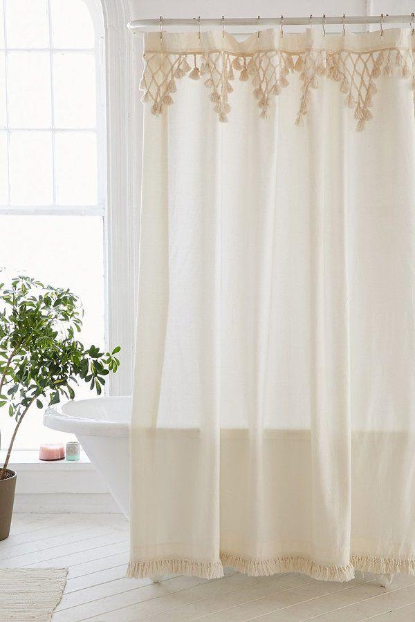 Topanga Fringe Shower Curtain Vorhange Vorhange Wohnzimmer Boho Badezimmer