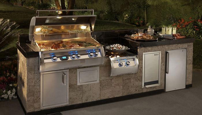 Outstanding Outdoor Kitchen With Electric Barbecue Grill Fantastic Stove And Mini Refrigerator Outdoor Kitchen Backyard Kitchen Outdoor Kitchen Countertops