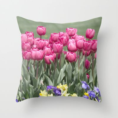 Tulips Throw Pillow By Vanessagf Society6 Throw Pillows Pillows How To Make Pillows
