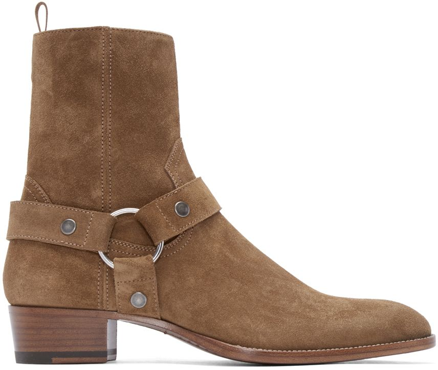 6a506e83643 Saint Laurent: Tan Suede Classic Wyatt Boots | SSENSE | Kicks | Mens ...
