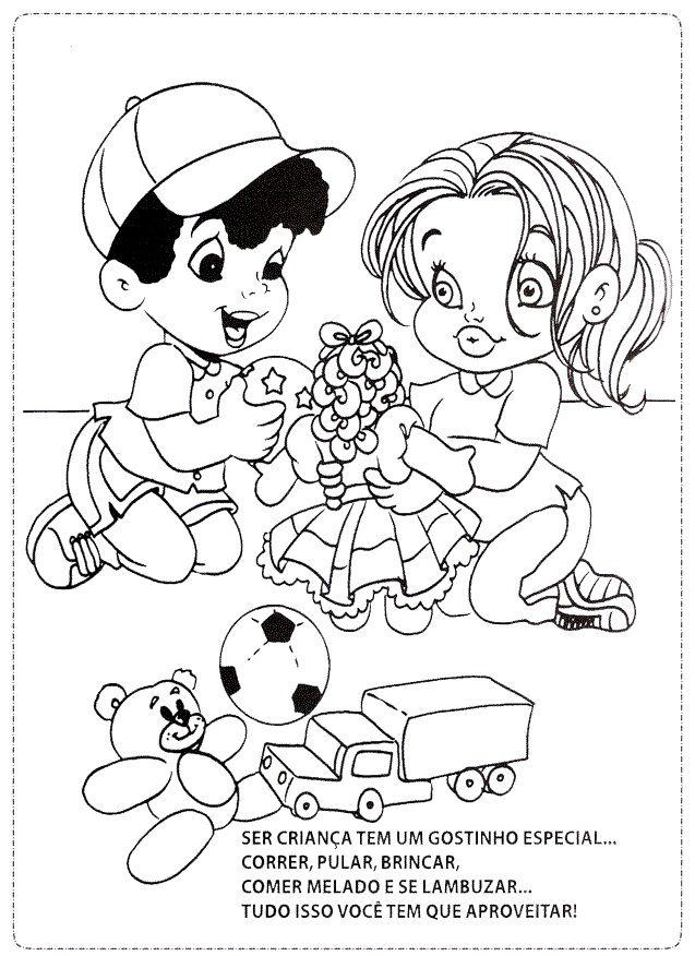 Desenhos Dia Das Criancas Colorir As Criancas Brincando