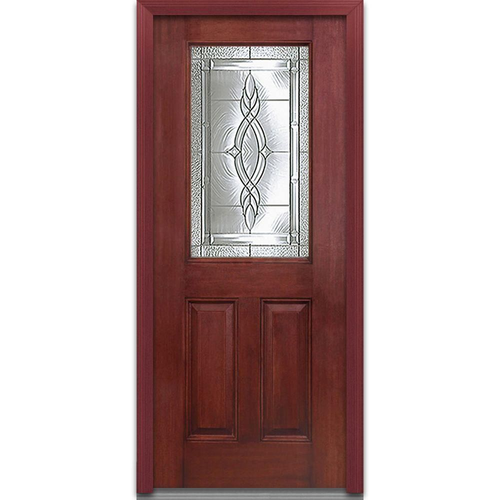 Milliken Millwork 32 in. x 80 in. Brentwood Decorative Glass 1/2 Lite 2-Panel Finished Mahogany Fiberglass Prehung Front Door, Stained Windsor Cherry