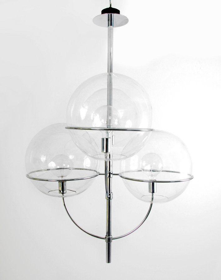 Vico Magistretti Chromed Metal And Glass Lydon Ceiling Light For O Luce C1970 Kreative Lampen Lampen Design