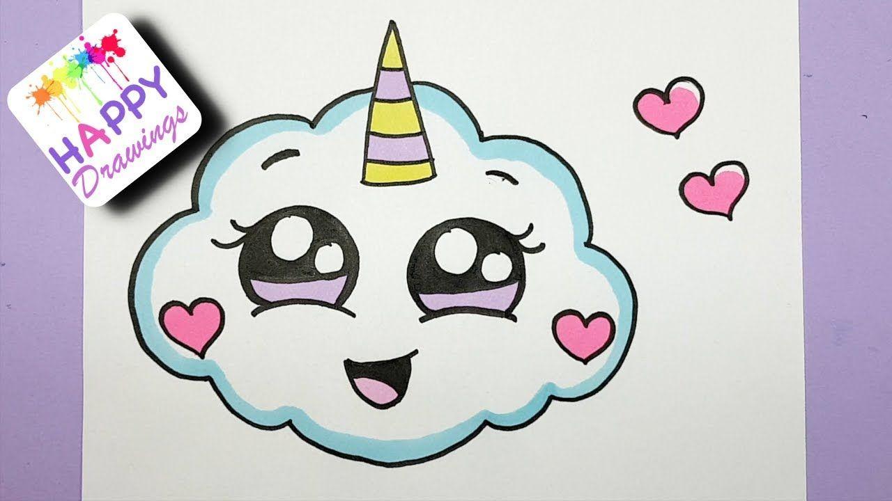How To Draw A Super Cute Cloud Emoji Unicorn Easy Drawing Youtube Unicorn Drawing Easy Drawings Happy Drawing