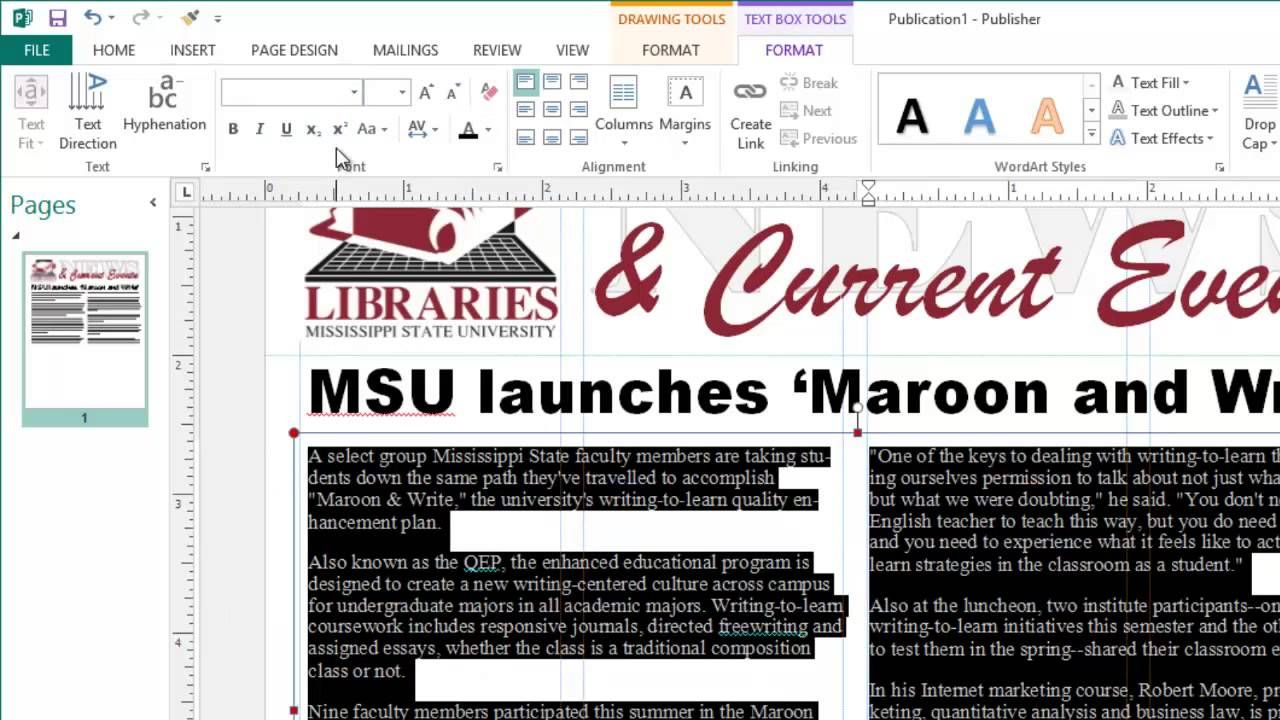 Creating Newsletters in Microsoft Publisher Word