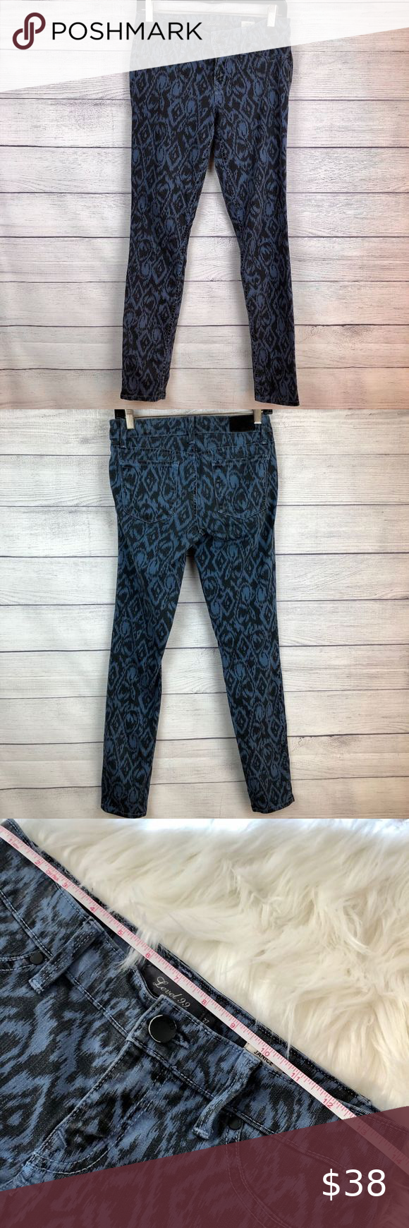 Level 99 Animal Print Black & Blue Jeans 27
