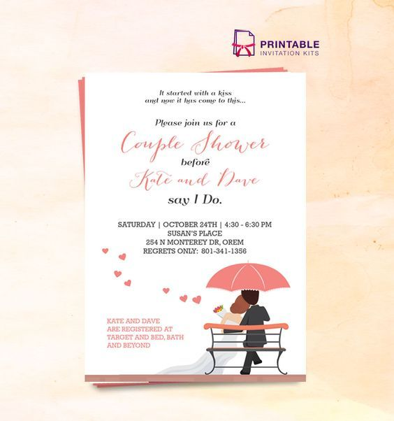 FREE PDF Couple Shower Wedding Invitation Template - edit the