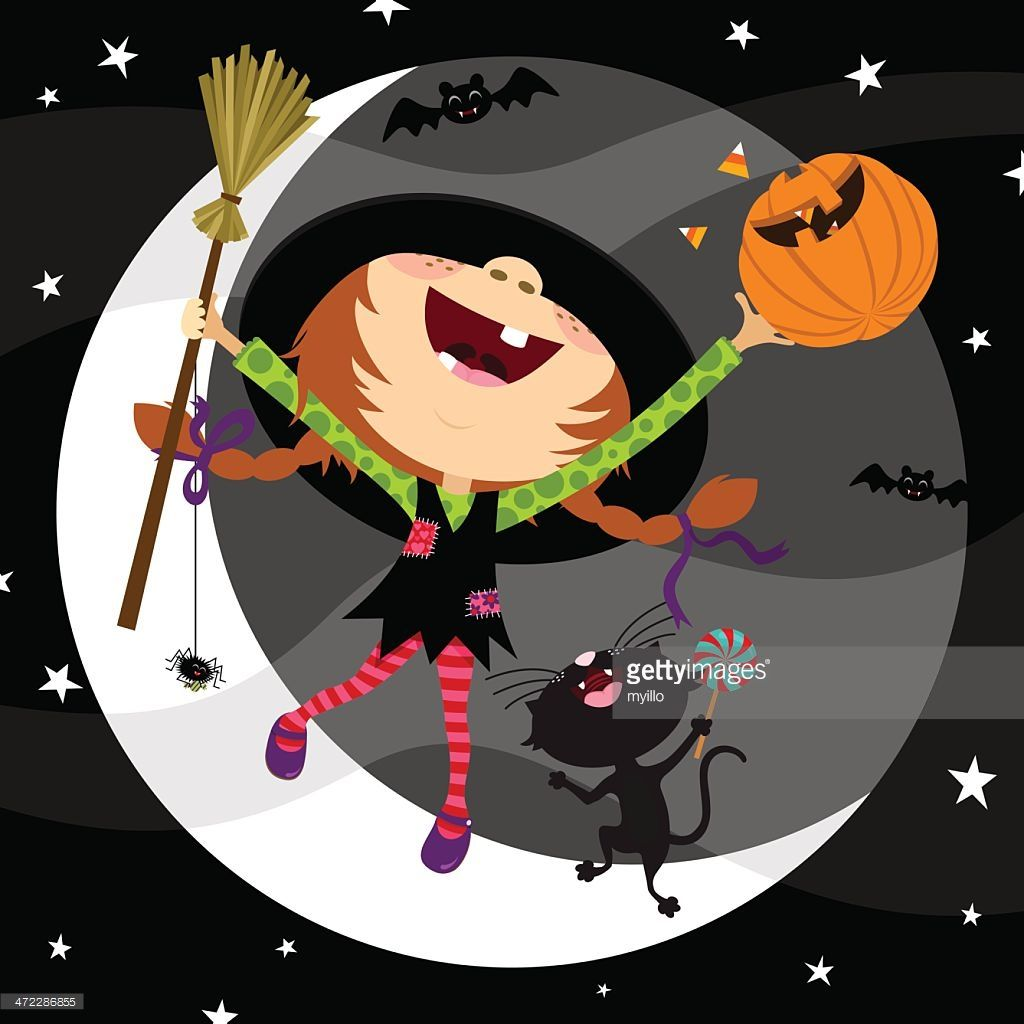 Vector art cute witch in halloween night halloween clipart