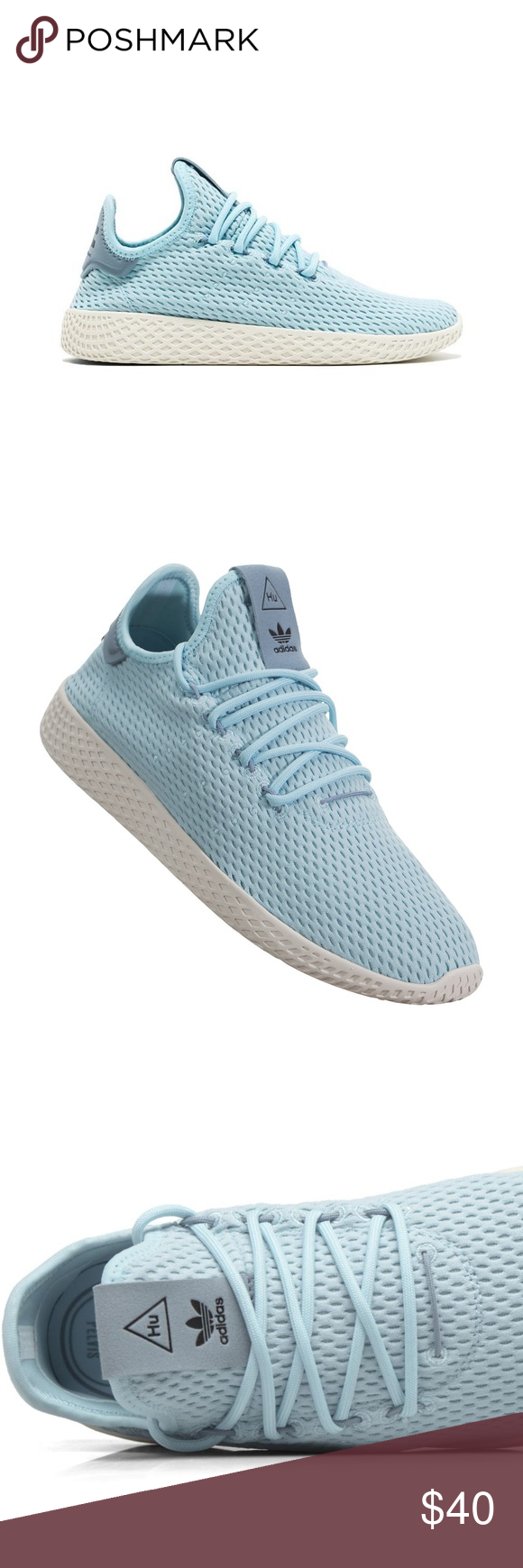 d42aa0bfd2687 adidas Pharrell Williams Tennis HU (Kids) Style  cp9802 Blue Adidas teamed  up with