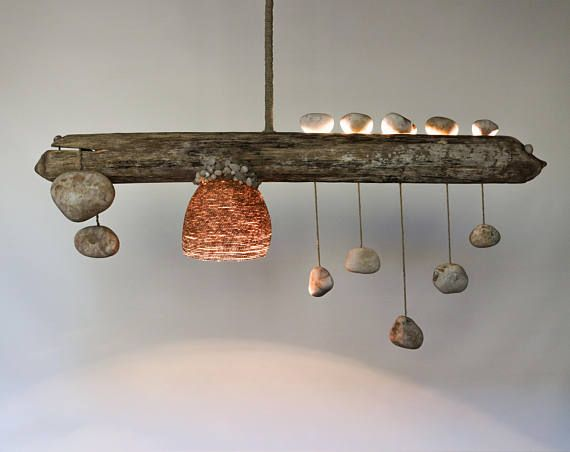 Driftwood Lamp with Quartz Pebble Pendants   Zen Balance   Handmade     Driftwood Lamp with Quartz Pebble Pendants   Zen Balance   Handmade Rustic  Ceiling Light   Wood Chandelier with Rope Lampshade