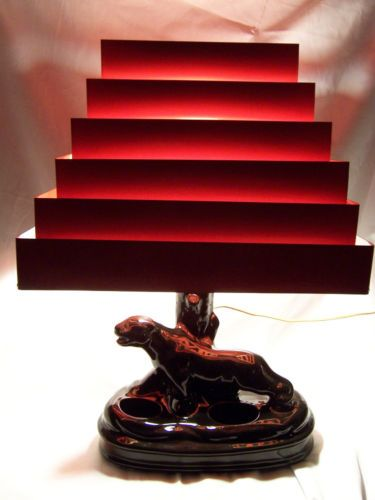 1950 S Black Panther Tv Lamp W Red Shade Retro Lamp Cat Lamp Lamp