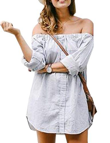 86bc487a5c Blooming Jelly Womens Dreamy Blue Off The Shoulder Shirt Dress  Multicoloured Small    Be sure to check out this awesome product.Note It is  affiliate link to ...