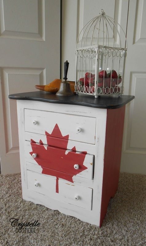 Canadian Flag Dresser Red White And Black Top Paint Crystelle Boutique Maybe With A Diffe Motif