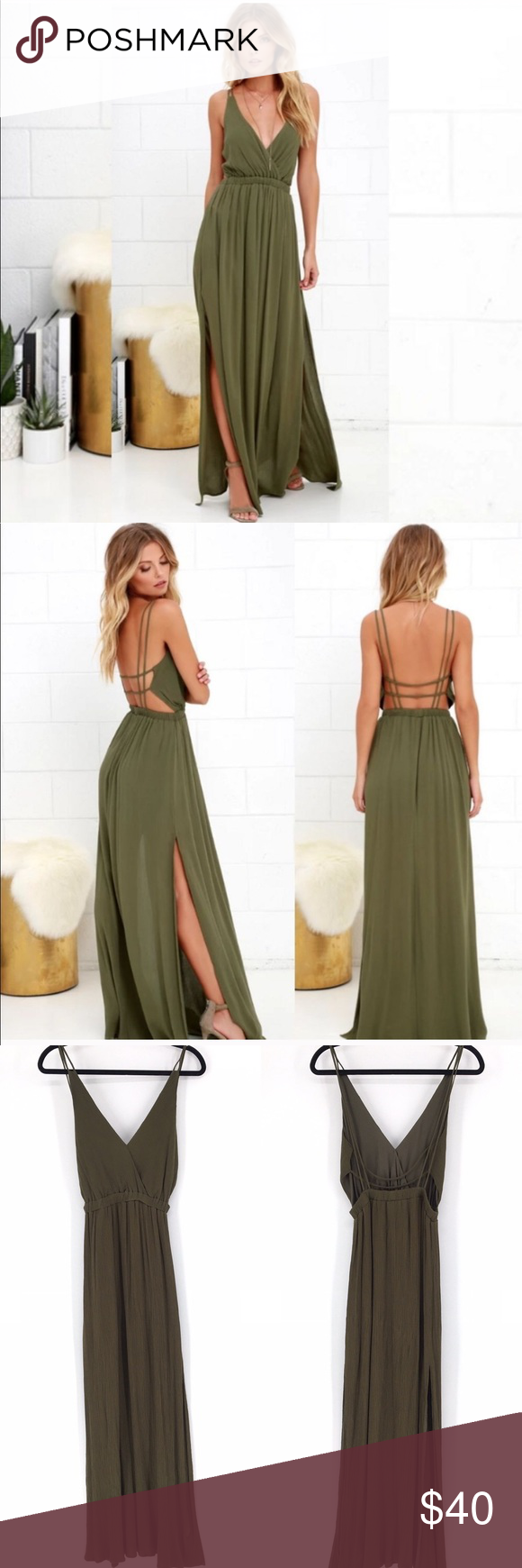 Lulu's Lost in Paradise Olive Green Maxi Dress Lulu's Lost in Paradise Olive Green Maxi Dress - Size Small - Very good condition. No flaws to note - 100% Rayon Self, 100% polyester lining - Hand wash - Smoke free / pet friendly home  #0326 Lulu's Dresses Maxi