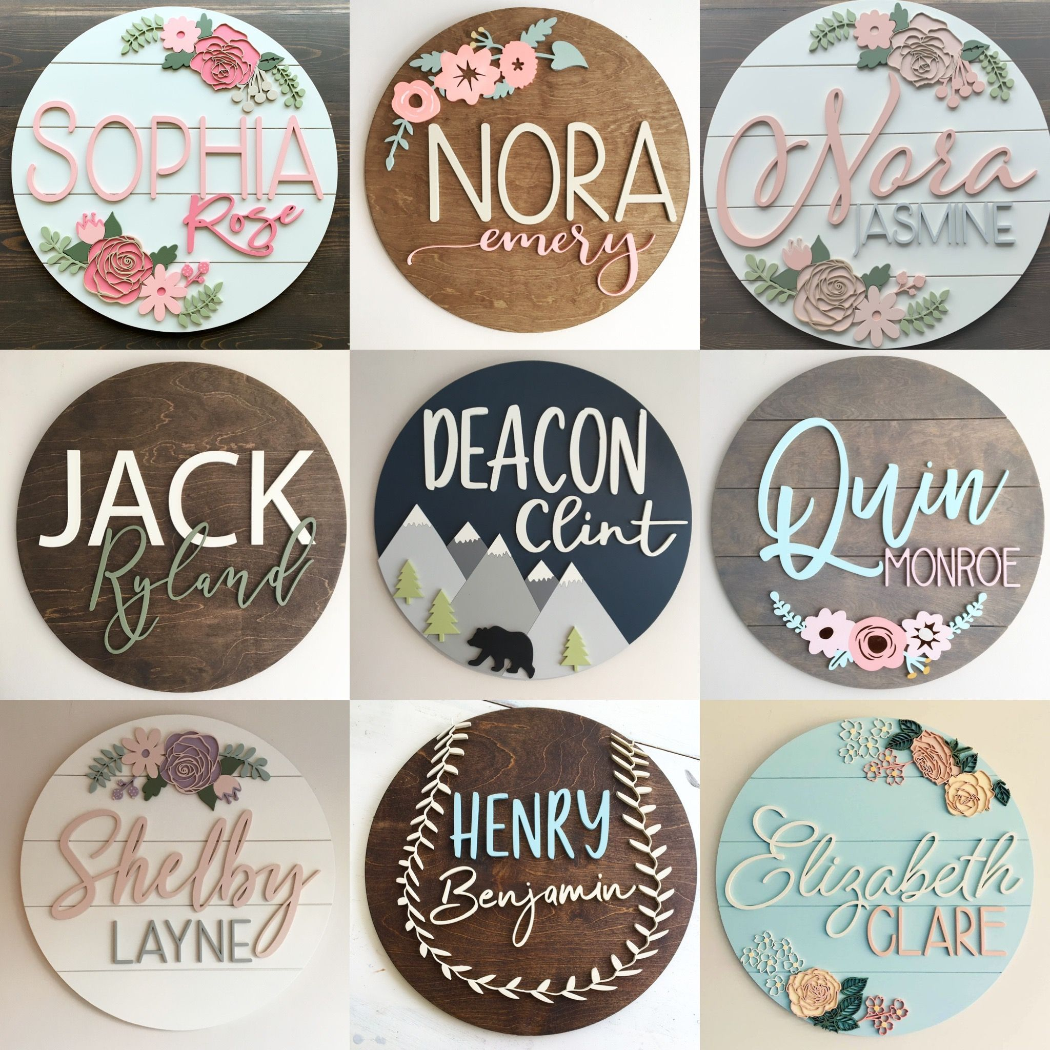 Custom baby name signs by Wildcomb Designs
