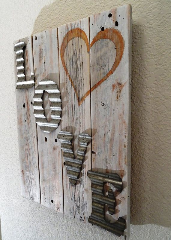 Rustic wood sign with corrugated tin letters by for Rustic wood crafts ideas