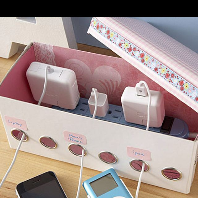 cute way to organize chargers