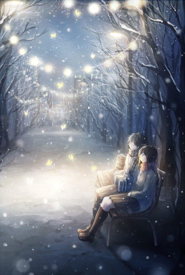 Christmas Anime Couple | Anime scenery, Anime snow, Anime ...