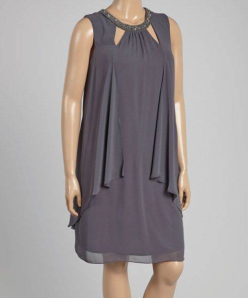 Look at this SL Fashions Steel Cutout Shift Dress - Plus on #zulily today!