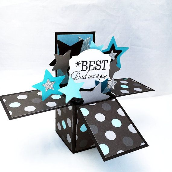 Father S Day Pop Up Card Best Dad Ever Card In A Box Black Silver And Blue Star Explosion Card 3d Fathers Day Card From Homemade Cards Pop Up Cards Cards