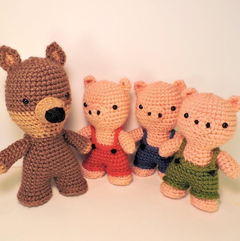 Three Little Pigs and The Big Bad Wolf Amigurumi   artesanato ...