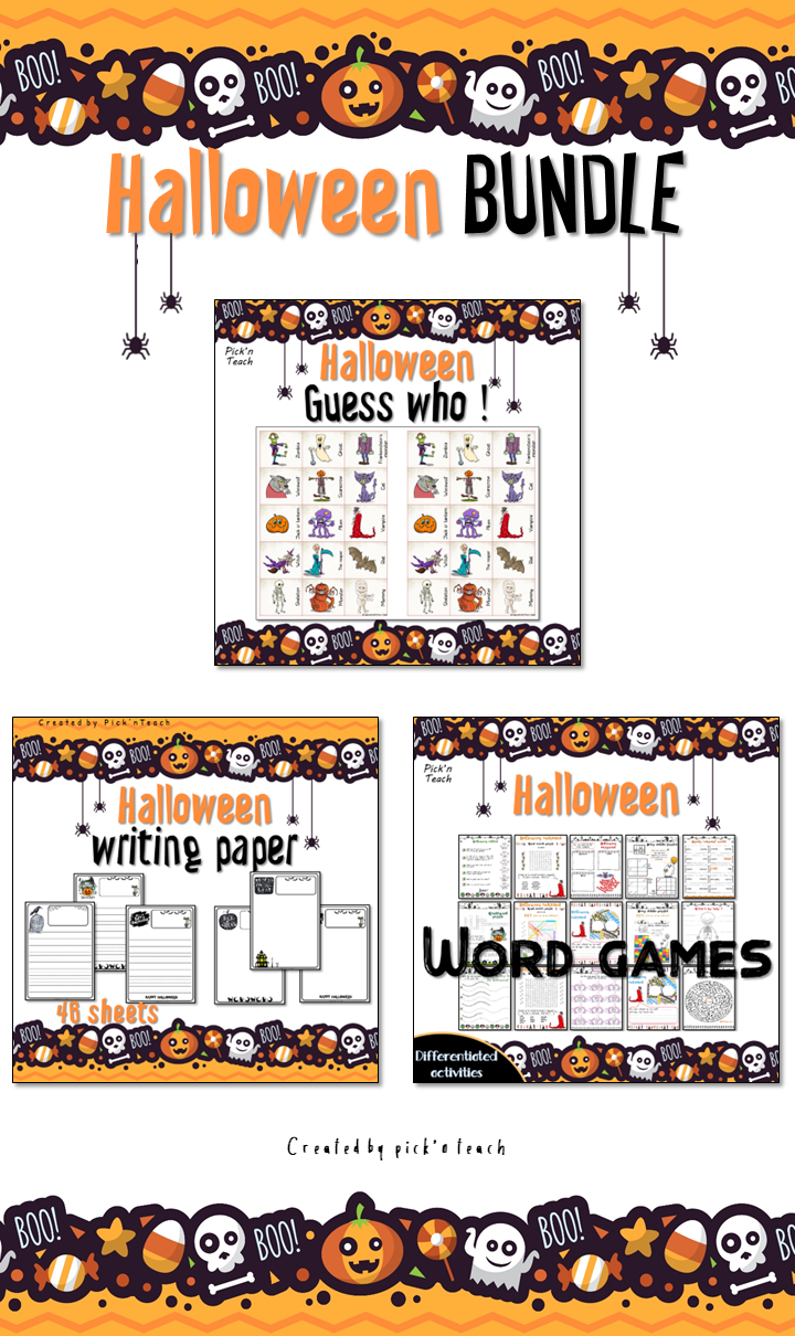 Halloween fun BUNDLE 1 Word games, Guess who? and writing