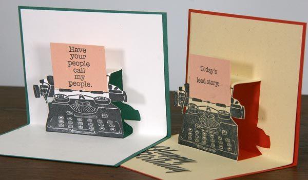 Typewriter Pop Up Tutorial Club Scrap Pop Up Cards Cardmaking Orange Cards