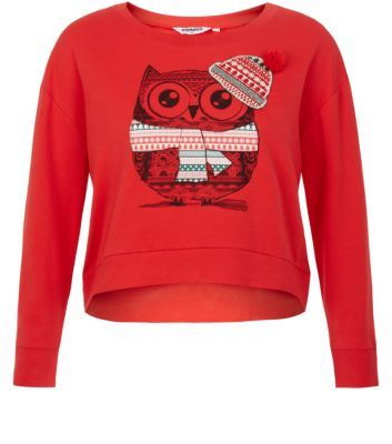 Free delivery available today   Shop the latest trends with New Look s  range of women s  men s and teen fashion. Teens Red Owl Christmas Crop Sweater   nL   favourite shops
