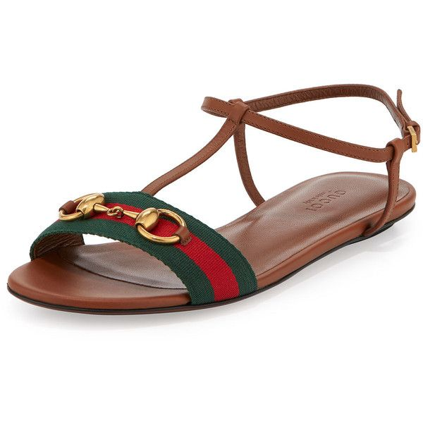 d1f7b7934416 Gucci Leather Web T-Strap Flat Sandal (8.450 ARS) ❤ liked on Polyvore  featuring shoes