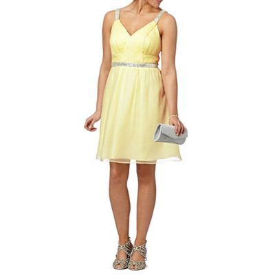 *** Pinned for style and colour ***    Instaglam by Red Herring Light yellow embellished strap dress- at Debenhams.com