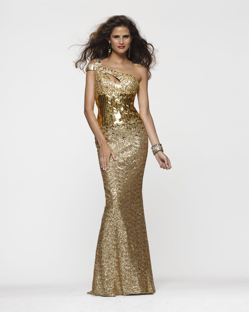 Clarisse Style 2117 One Shoulder Gold Sequin Prom Dress | Silver + ...