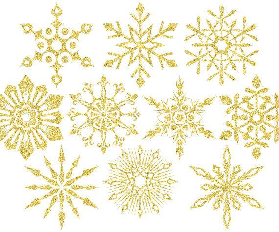 Christmas Clipart Gold Glitter Snowflake Clipart Holiday Etsy Clip Art Snowflake Clipart Christmas Clipart
