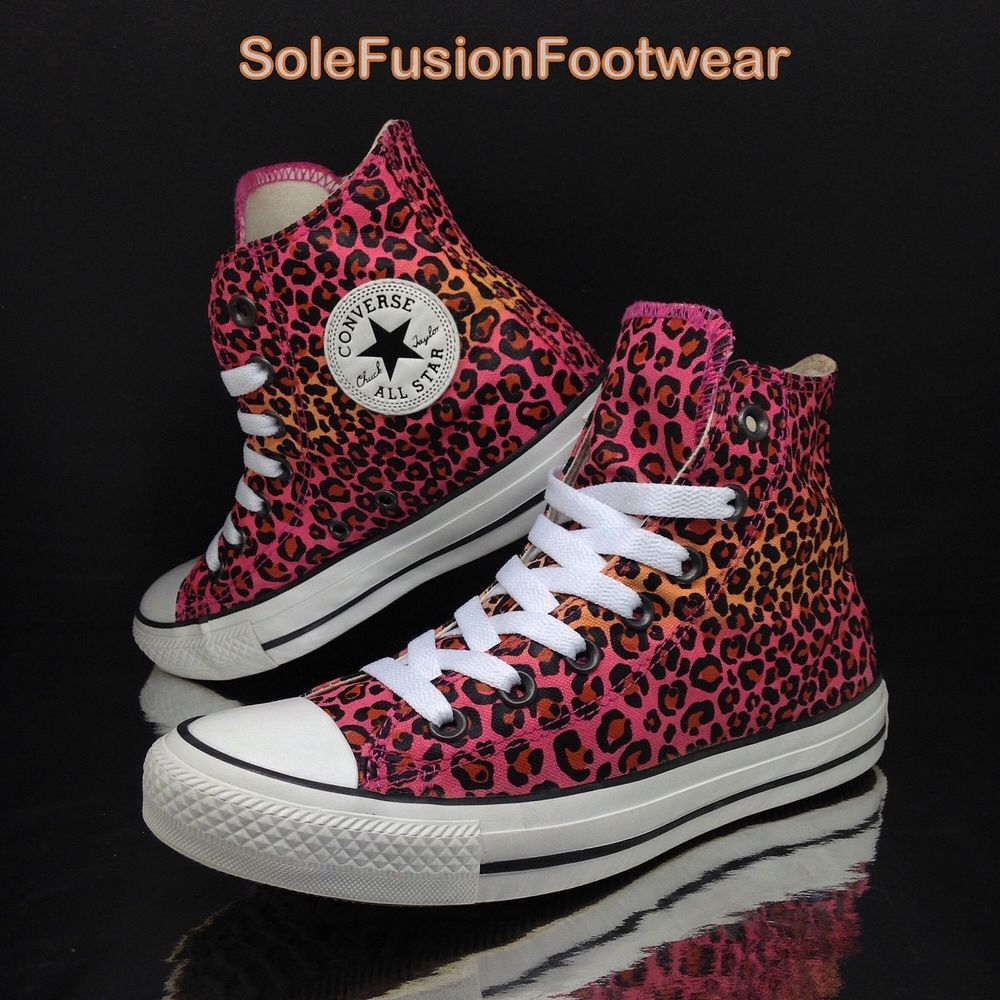 932674e1feed Converse Womens All Star Leopard Trainers Pink sz 5 Hi Top Rare Sneakers EU  37.5