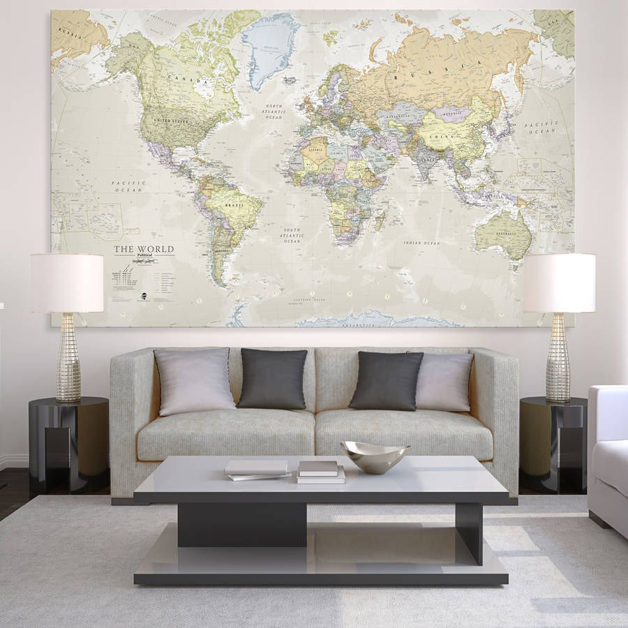 Giant canvas world map canvases room and living rooms giant canvas world map sciox Images