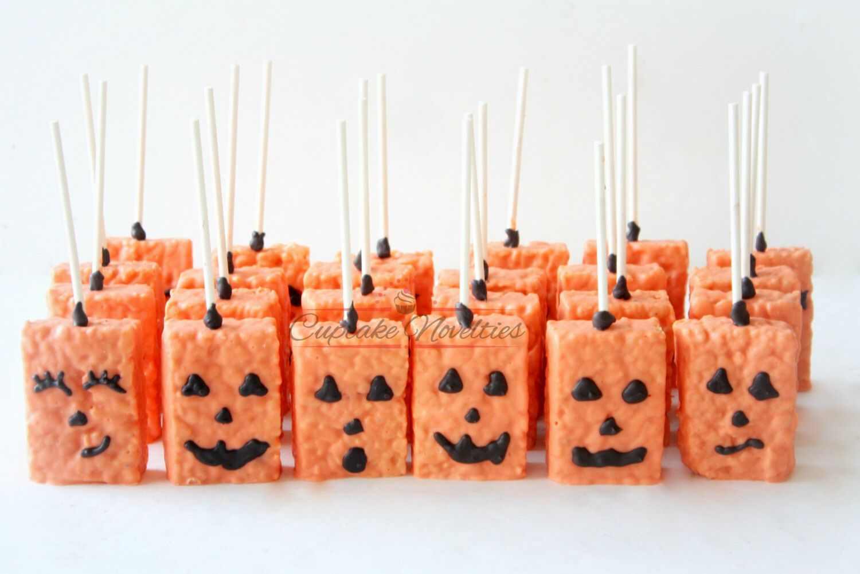 halloween cookies pumpkin cookies jack o lantern halloween favors halloween rice krispies trick or treat jack