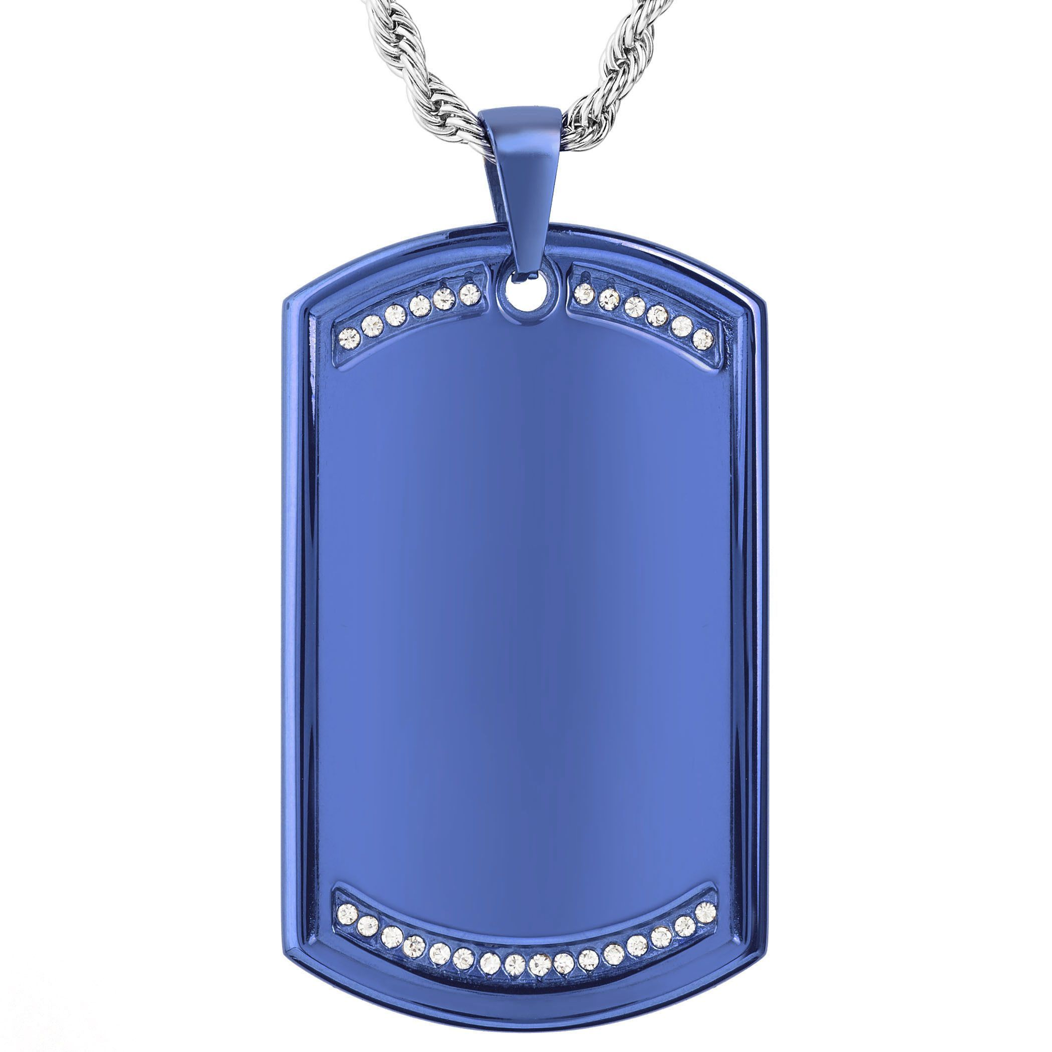 West Coast Jewelry Men's Stainless Steel Cubic Zirconia Dog Tag Pendant Necklace