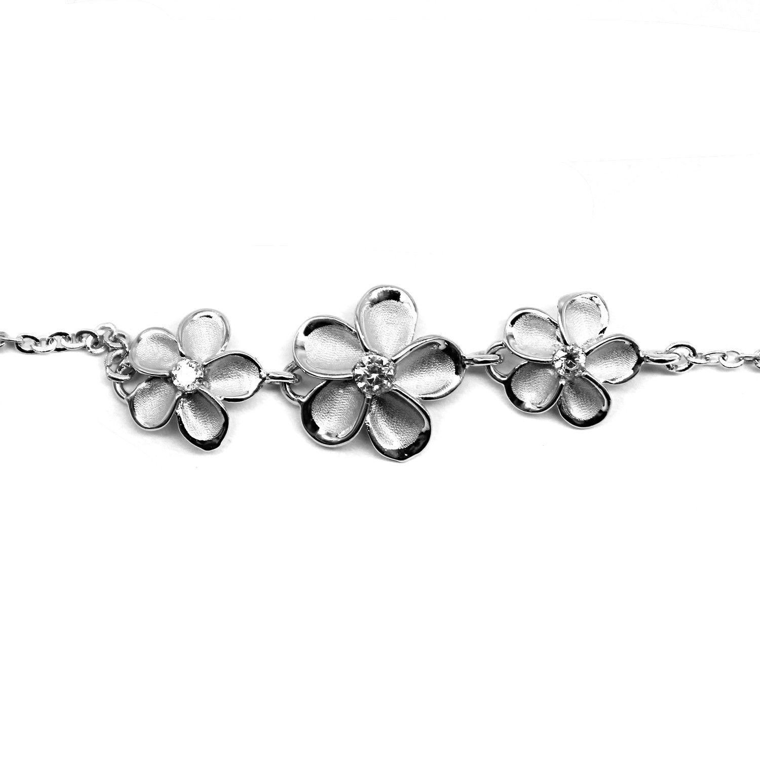 hawaiian plumeria with foot anklet chain sterling silver cz all