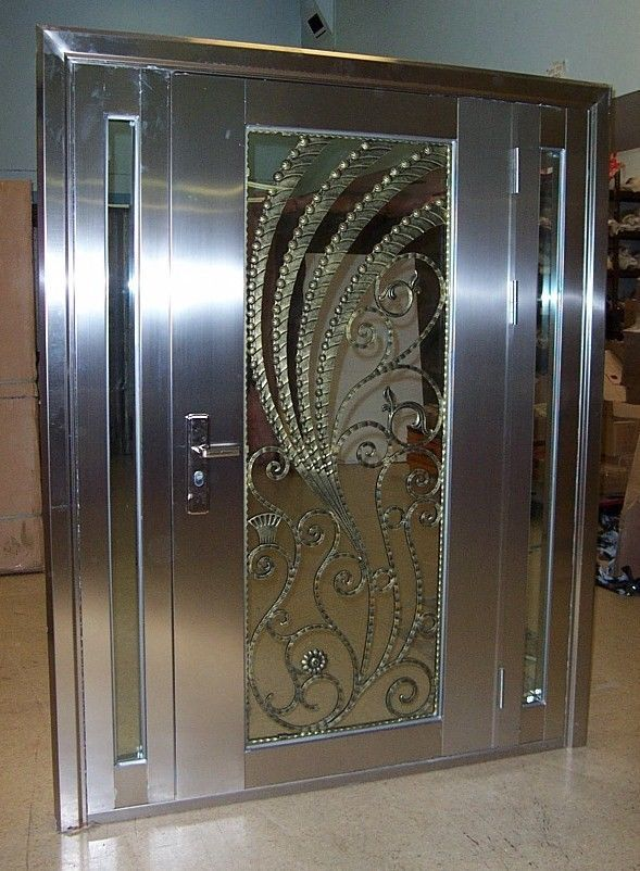 Stainless Steel Entry Door With Sidelights Made Of 304 Stainless