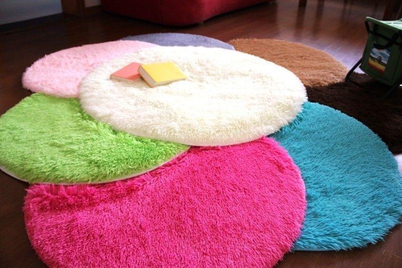 Modern Round D80*4.5cm Cyan Carpet Living Bedroom Solid Fiber&Rayon ...