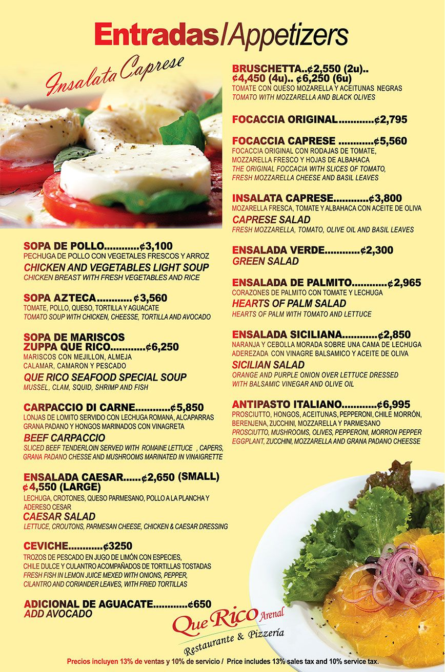 Menu From Costa Rica Comida Pinterest Costa Rica
