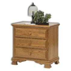 "Amish Bedroom Furniture - Heritage 3-Drawer Nightstand 26 1/2""W x 17""D x 32 1/2""H"