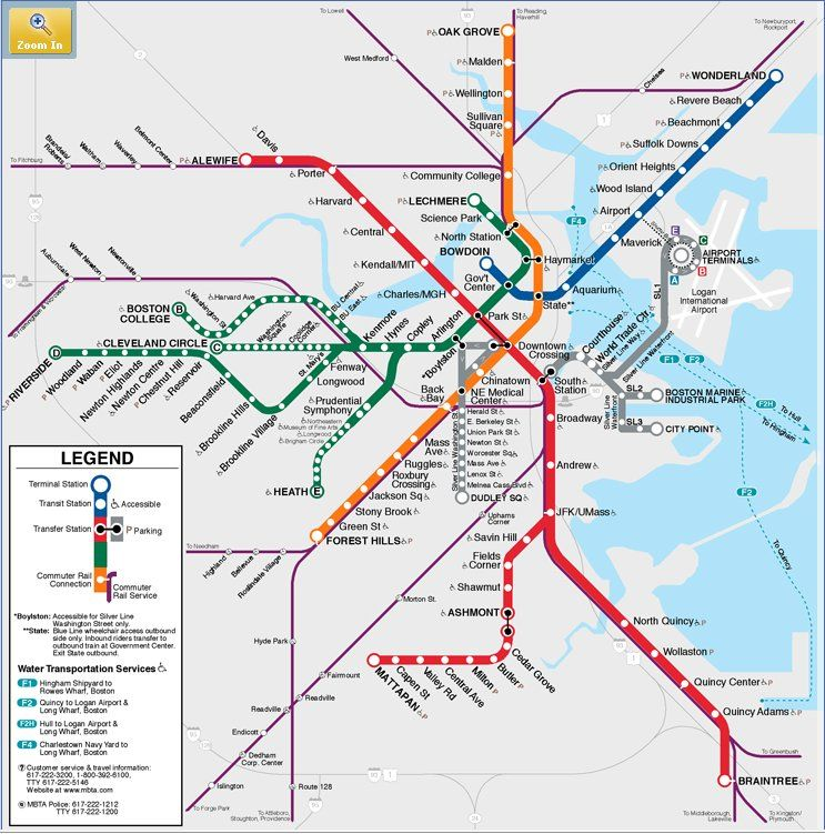 Metro Boston T Mbta Map Oldest Subway System In America