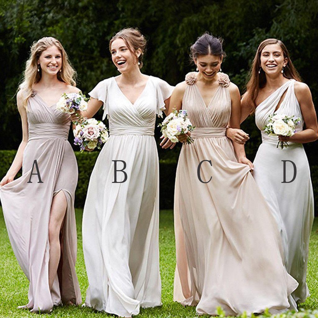 Dress to wear at a wedding  Mismatched Pretty Cheap Chiffon Side Split FloorLength Formal High