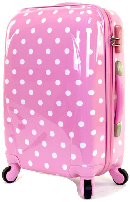 Pink polka dots suitcase brand new 4 wheels handle luggage trolley ...